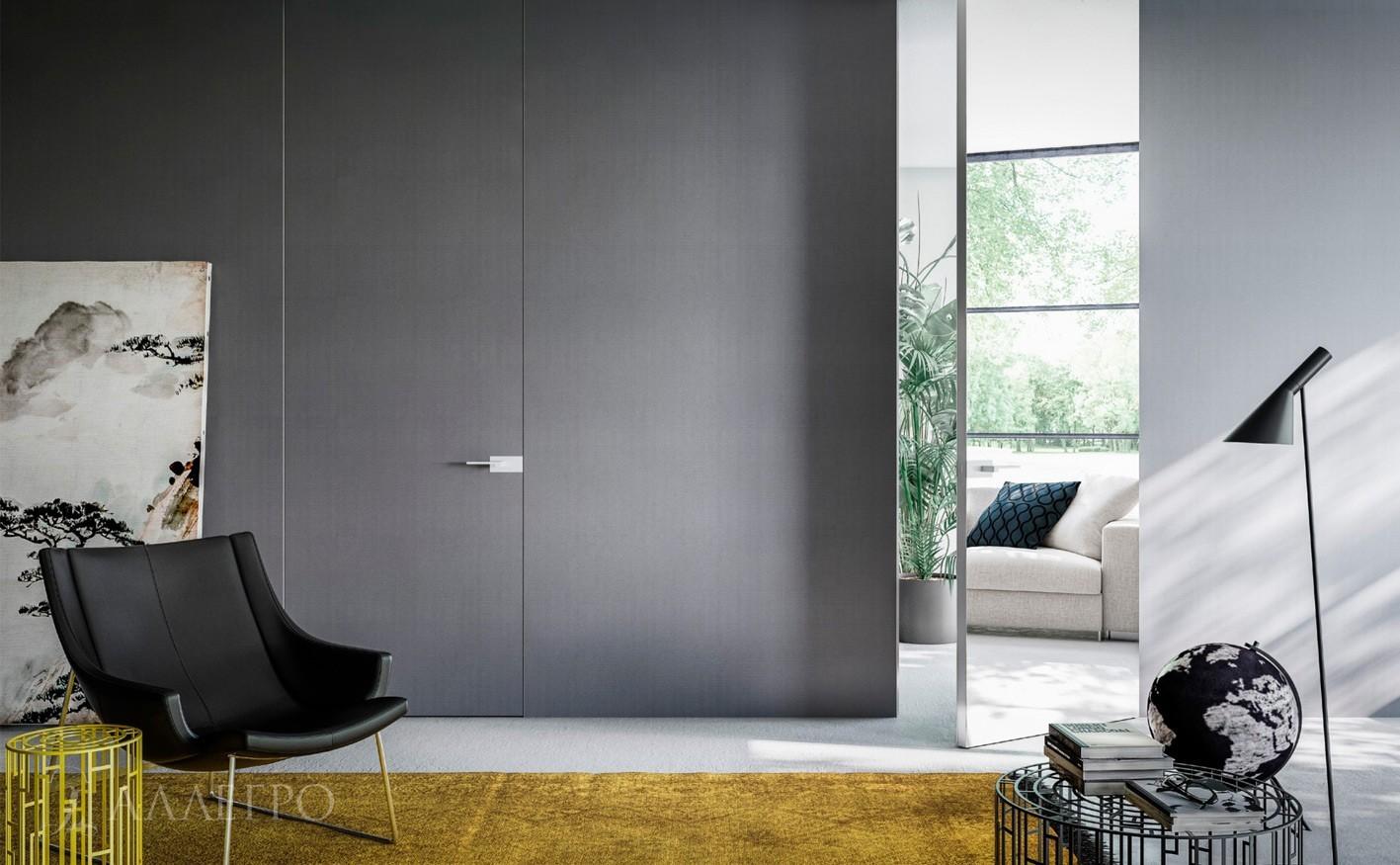 Высокие скрытые двери с зеркальным полотном и под покраску