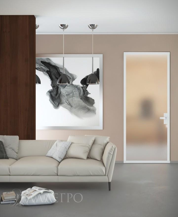Скрытая стеклянная матовая дверь в интерьере