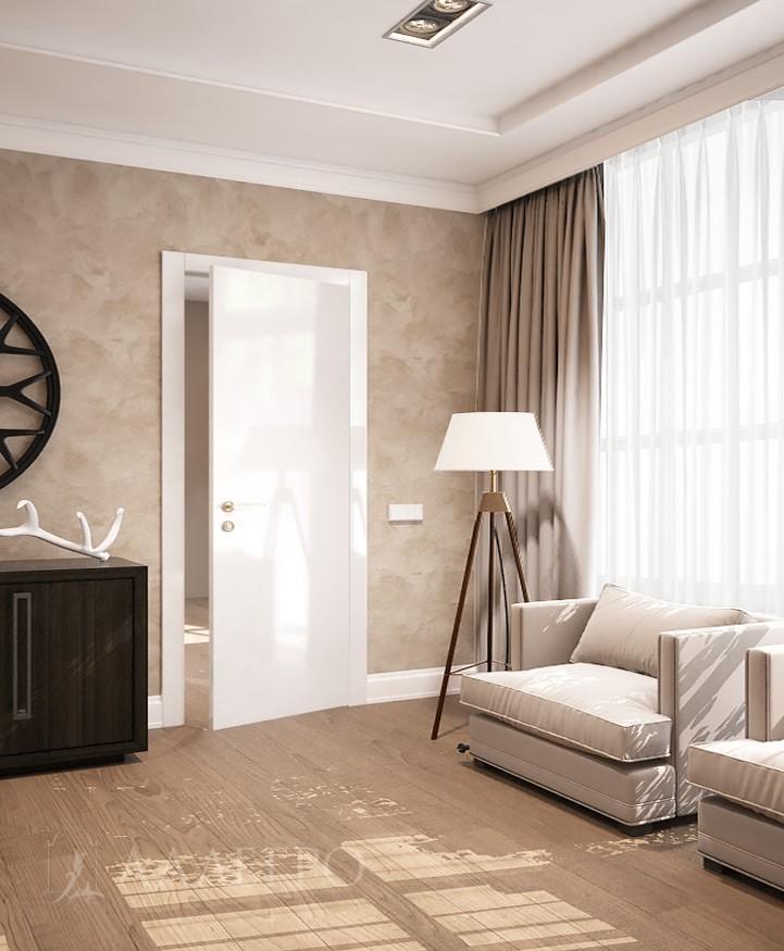 Фото стеклянной двери в белом глянце с наличниками в интерьере