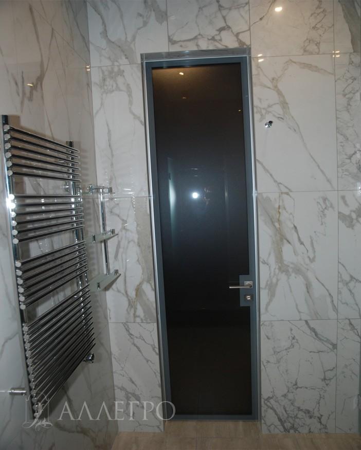 Алюминиевые стеклянные двери с обратной стороны. Свет выключен