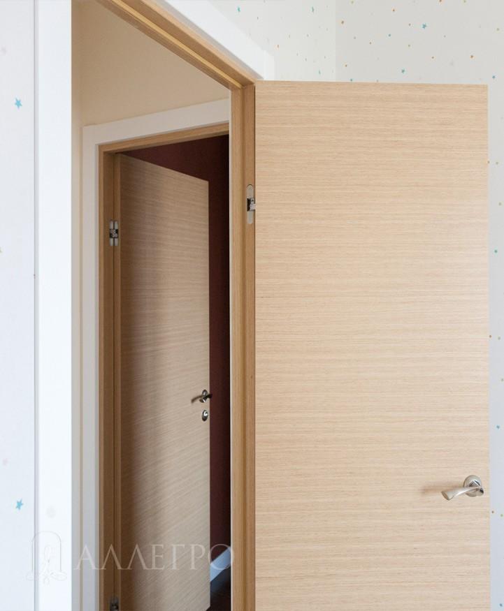 Вариант распашной двери с наличниками
