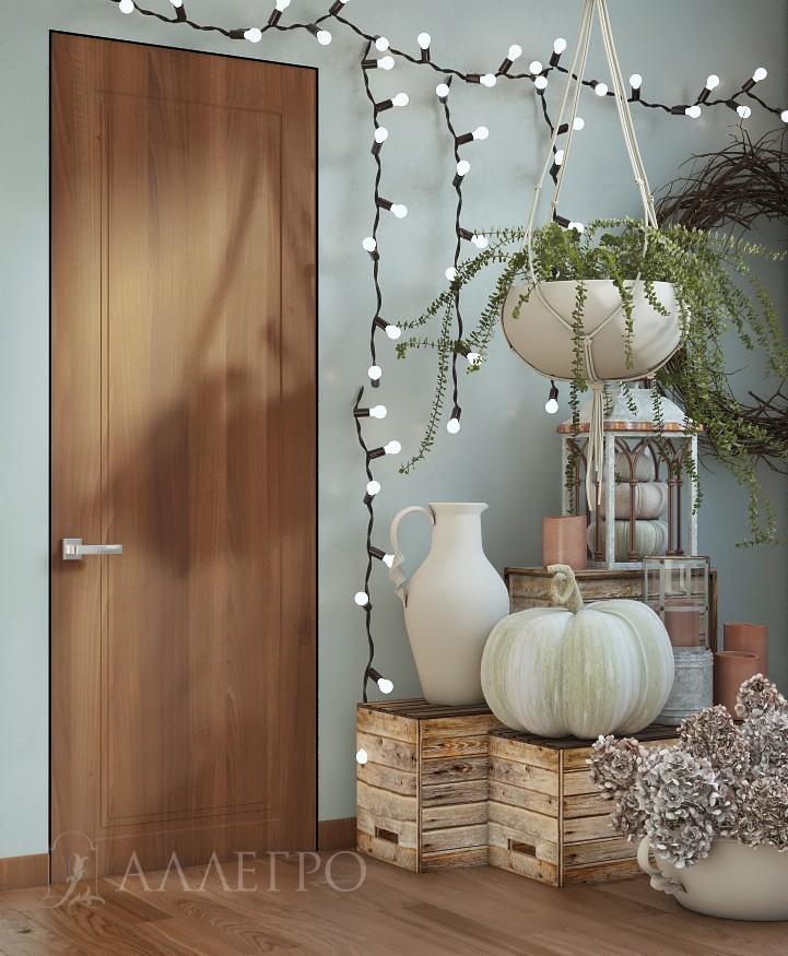 Шпонированная дверь с рисунком и со скрытой алюминиевой коробкой.
