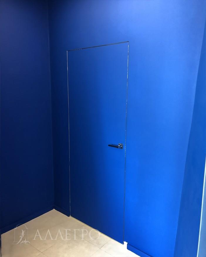 Двери со крытой коробкой под покраску синего цвета