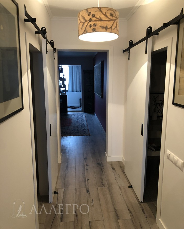 Дверь под покраску АЛЛЕГРО с раздвижным амбарным механизмом фото