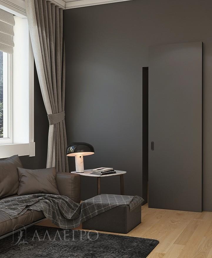Дверь под отделку со скрытым раздвижным механизмом HIDDEN. Максимальная высота изготовления до 2700 мм