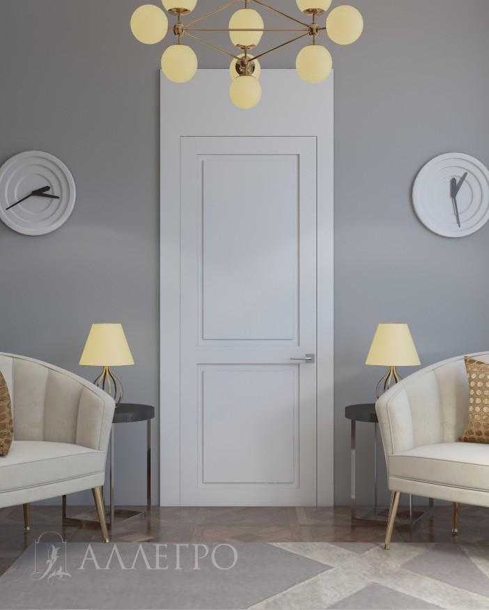 Двери под покраску со стеновыми панелями в одной плоскости. Ширина боковых панелей - 130 мм. Высота верхней - 350 мм. Возможно изготовление дополнительных стеновых панелей - от 5 000 руб. за кв.м
