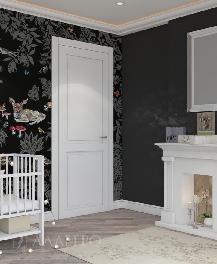 Дверь под покраску АЛЛЕГРО с наличниками и рисунком на полотне фото