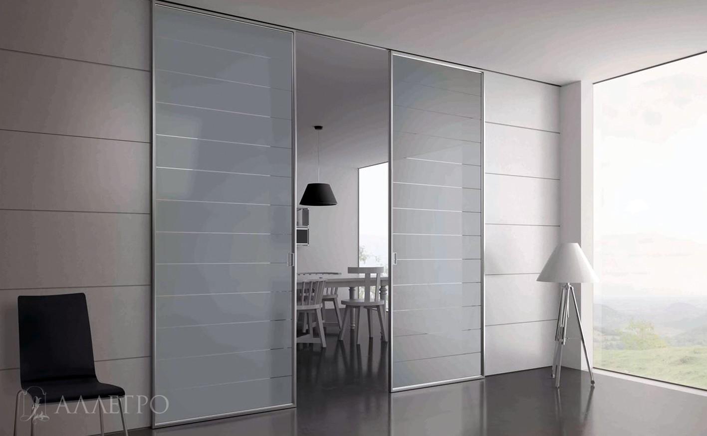 Стеклянные двери с раздвижным механизмом Купе