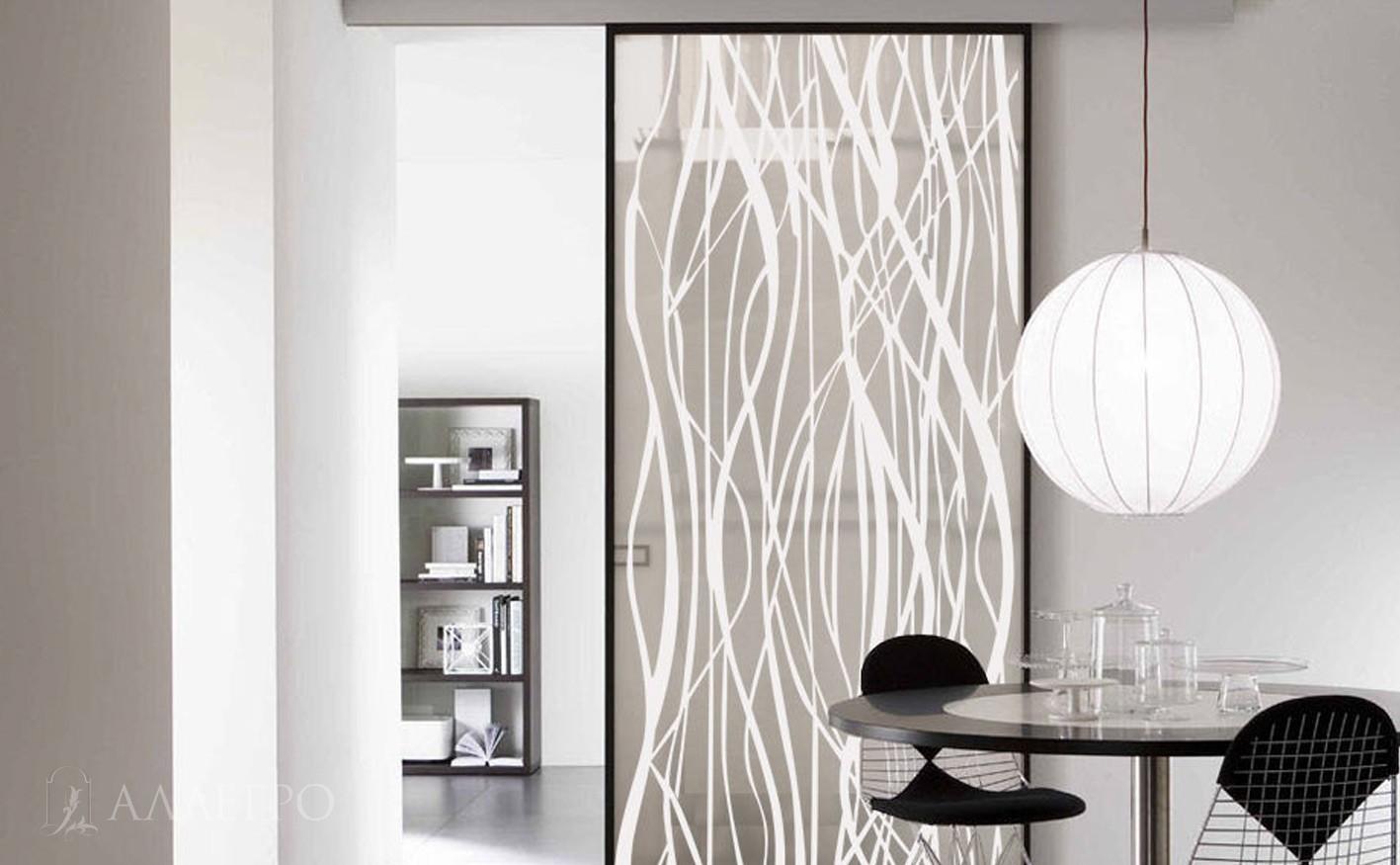 Раздвижные стеклянные двери с декоративным узором