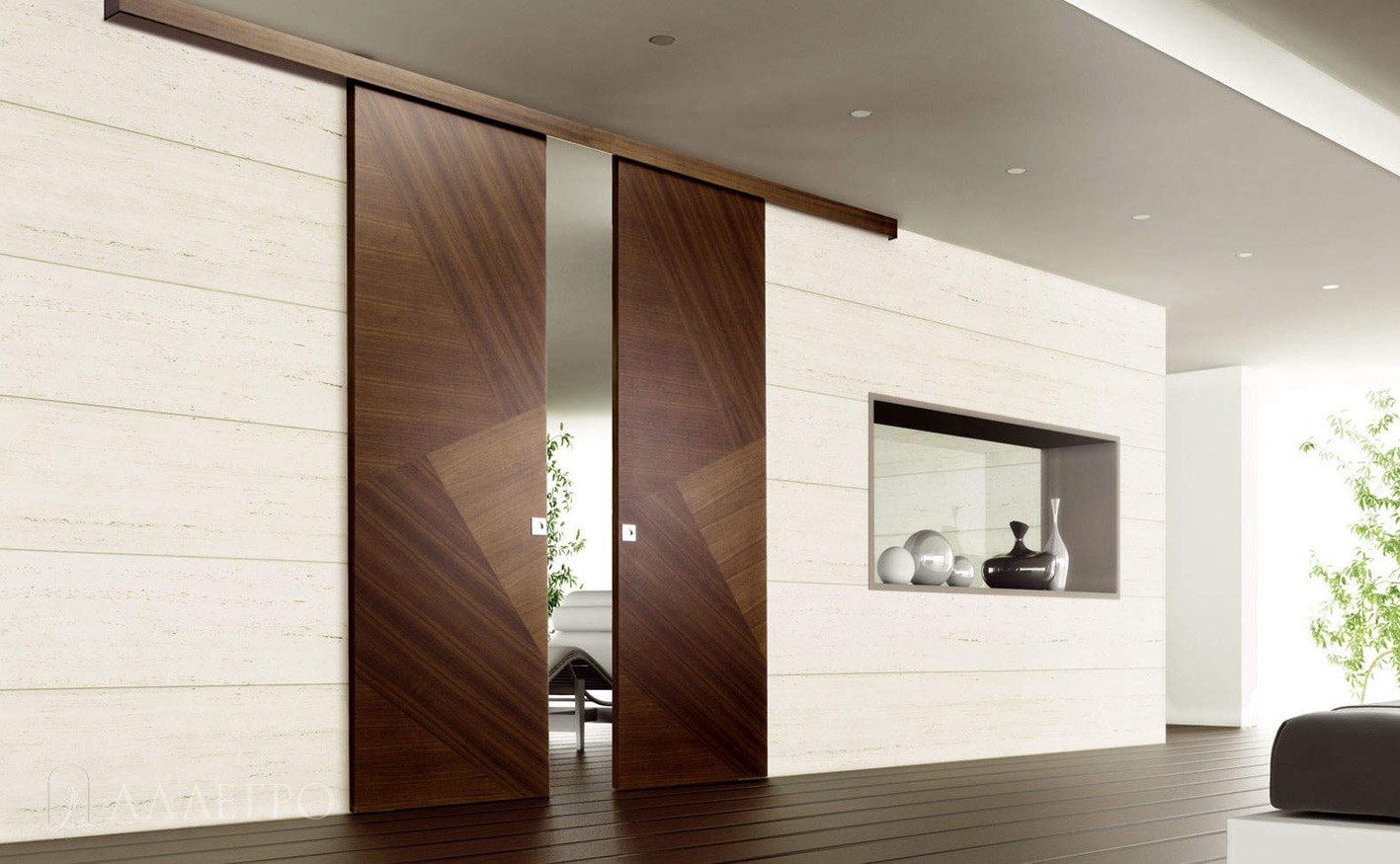 Шпонированные раздвижные двери