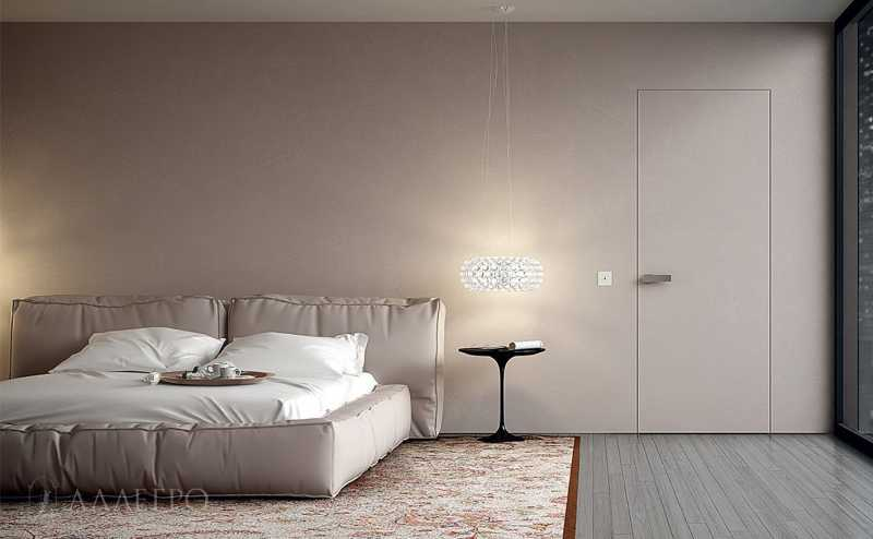Скрытые двери ведущие в санузел из спальни с отделкой под обои