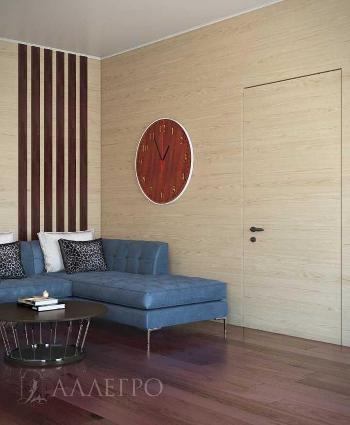 Шпонированная дверь со скрытой алюминиевой коробкой. Может изготавливаться высотой до 2700 мм.Может изготавливаться со стеновыми панелями.