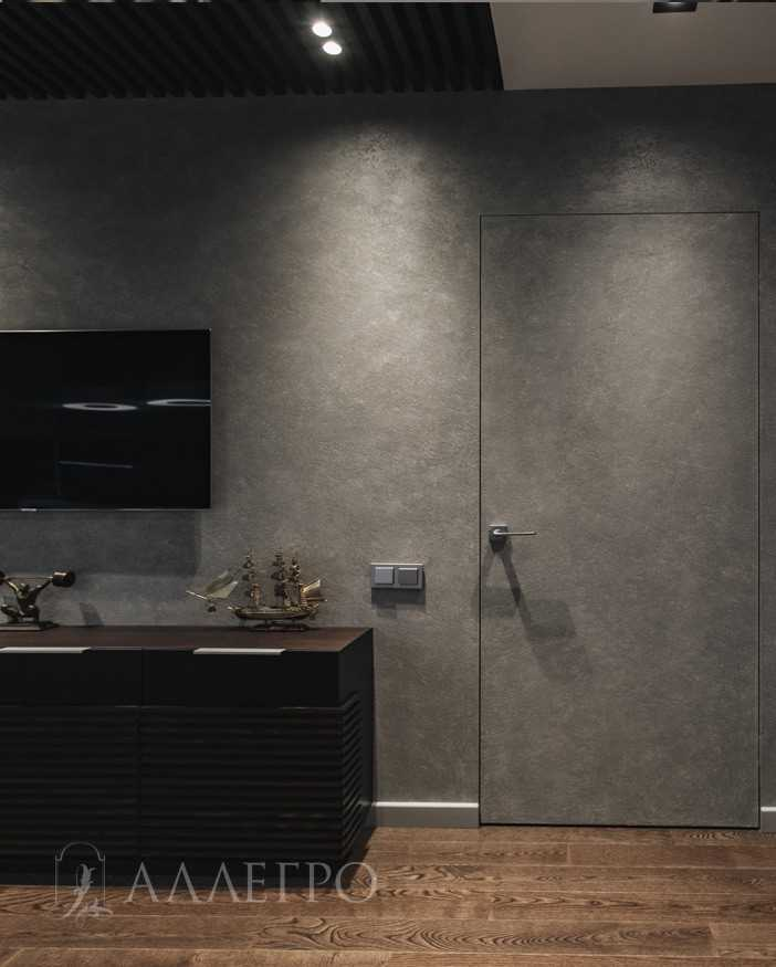 Скрытая дверь с алюминиевой коробкой - полотно каркас деревянный под отделку со всех 4 сторон,скрытая коробка на 100% сделана из авиационного алюминия. Может изготавливаться высотой до 2700 мм.