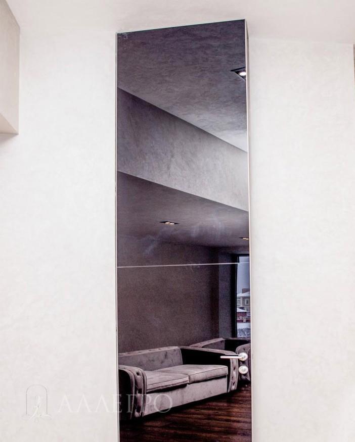 Скрытая дверь с графитовым зеркалом нестандартной высоты - 4000 мм