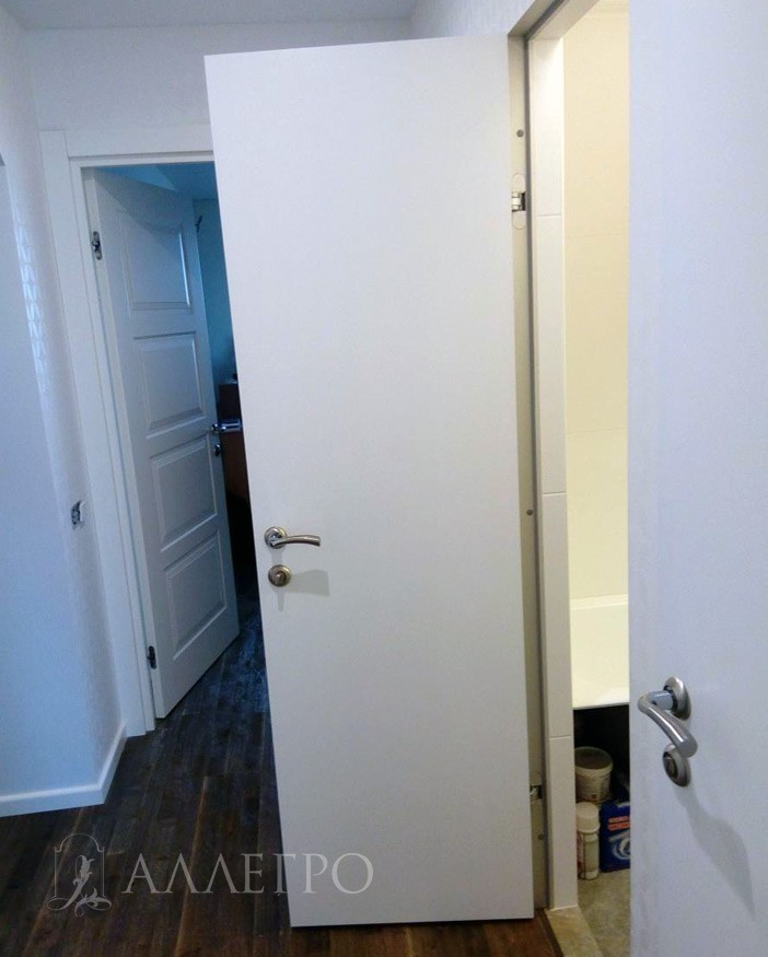 Дверь Аллегро комбинированная со скрытой коробкой в открытом виде