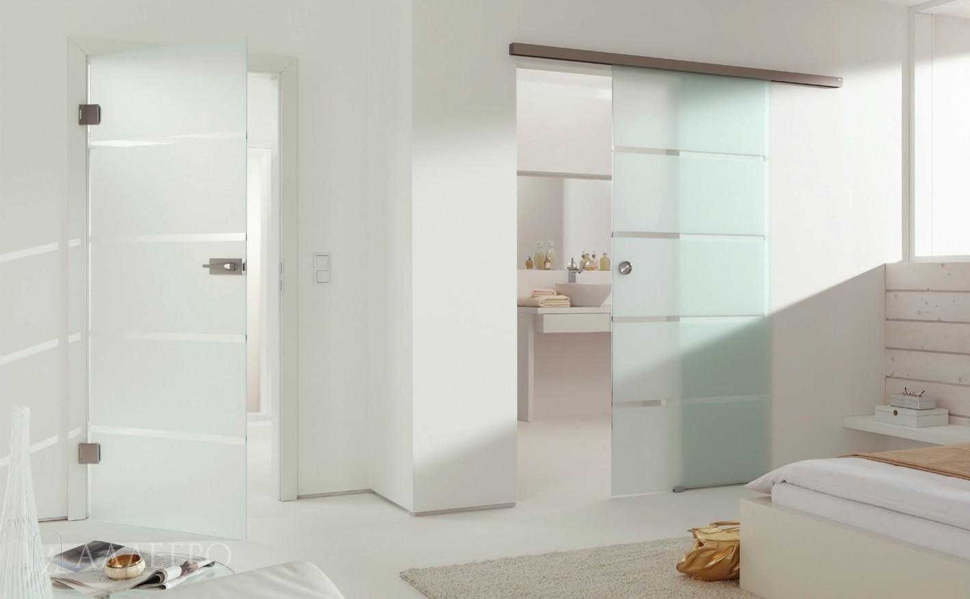 Стеклянные двери с раздвижным механизмом