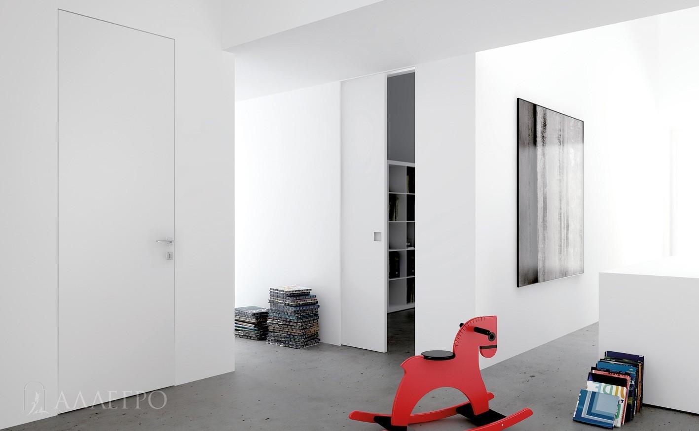 Белые скрытые двери под покраску