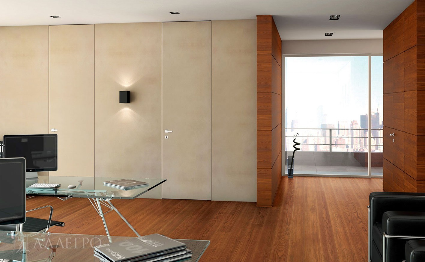 Высокие скрытые двери отделанные декоративной штукатуркой