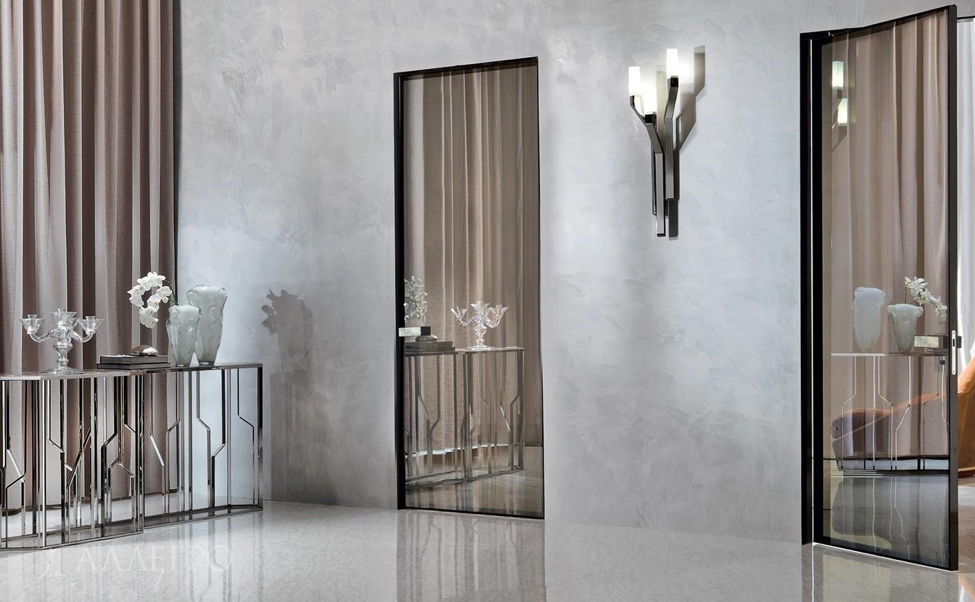 Зеркальные двери с бронзовой пленкой