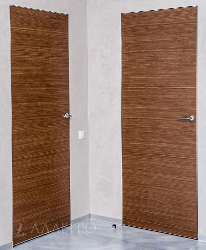 Дверь из натурального шпона с алюминиевой коробкой