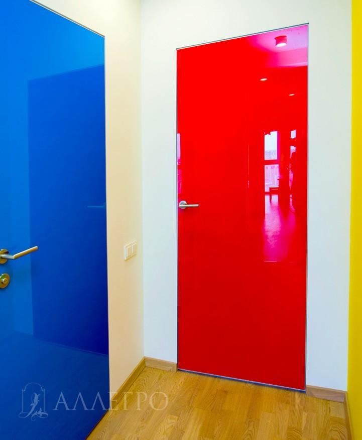 Фото стеклянной дверь со скрытой коробкой в индивидуальных цветовых решениях