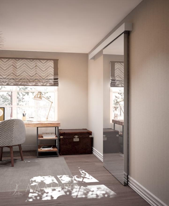Фото раздвижной двери сбоку. Видны торцевые крышки раздвижного механизма и алюминиевый кантик самой двери
