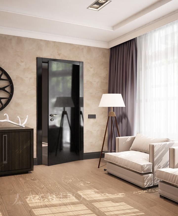 Стеклянная дверь с черным глянцем в интерьере