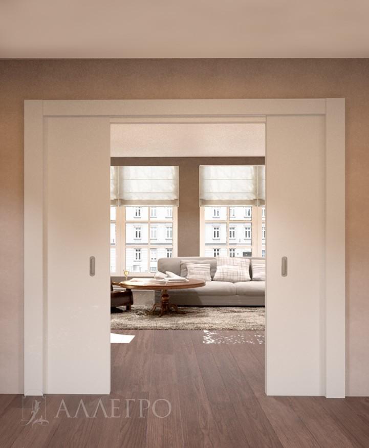 Раздвижная дверь пенал, где двери визуально задвигаются в стену