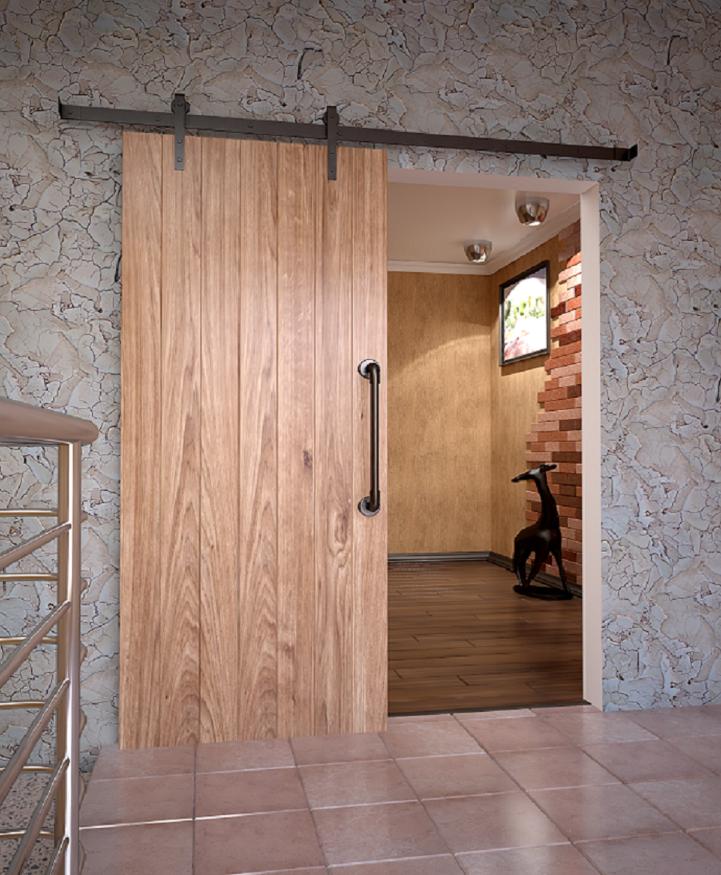 Дверь в стиле Лофт с амбарным механизмом и винтажной ручкой