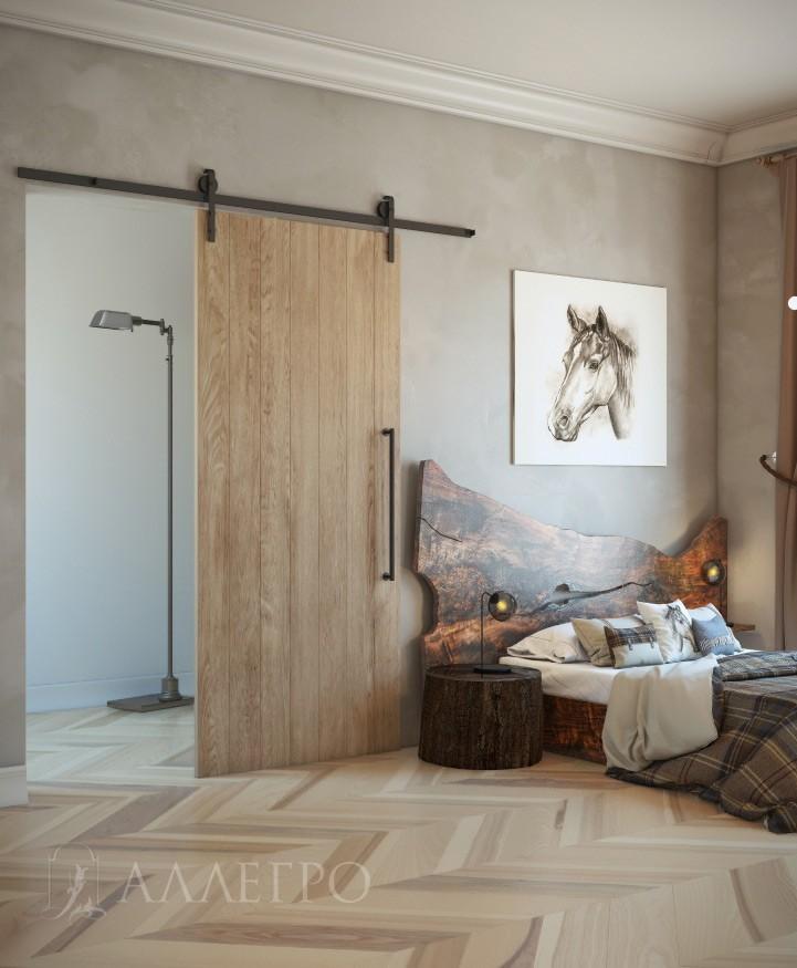 Амбарная дверь с раздвижным механизмом и ручкой под старину