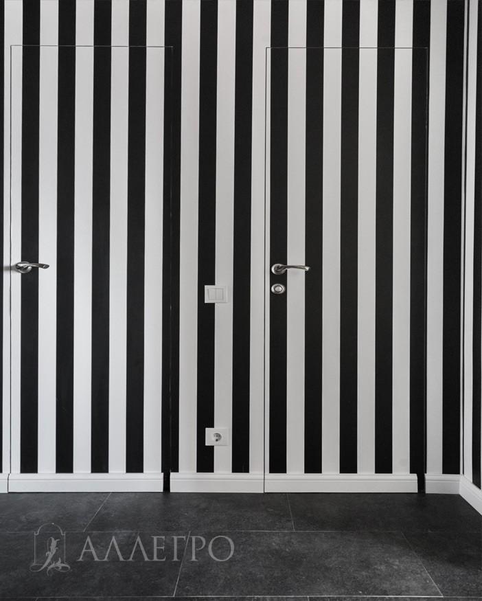 Скрытая межкомнатная дверь. Комбинированный вариант. Финишный вариант