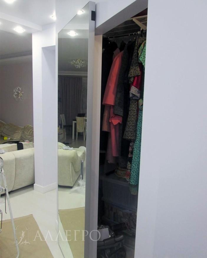 Раздвижная дверь с зеркальным, серебряным полотном
