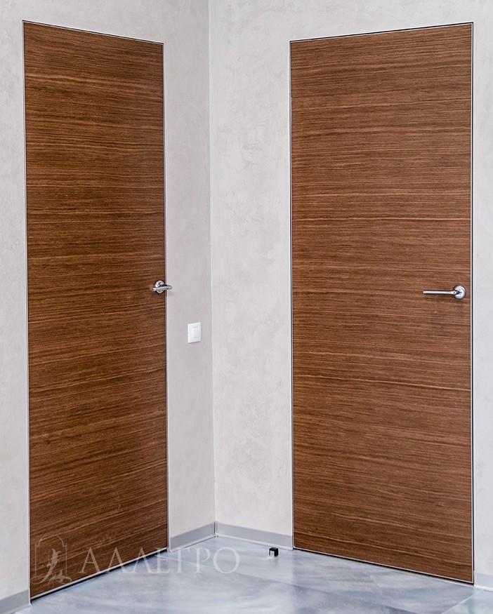 Скрытые двери с алюминиевой коробкой и полотном под шпоном